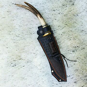 Dagger Stiletto Steel Knife Handmade 17 Inches Deer Antlers Handle Leather Sheat