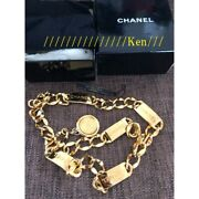 Belt Chain Auth Coco Mark Vintage Necklace Gold Coin Medal Plate F/s