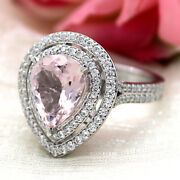 5 Ct Pear Double Halo Morganite Gorgeous Engagement Ring 14kt White Gold Ring