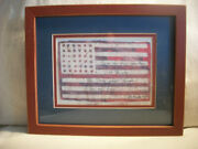 American Flag Art Work Freedom Quilt Framed And Matted Folk Art Plaque Sign