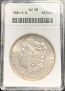 1884-s 1 Morgan Silver Dollar Anacs Au-58 - Better Date Superb For Grade