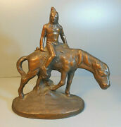 1930's Hubley Grey Iron Cast Iron Comanche Indian Mustang Pony Western Decor Xc