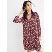 Madewell Button Back Dress In Antique Floral Size S Small Long Sleeve V Neck