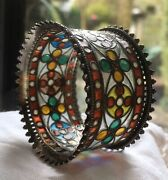 Antique Silver And Stained Glass Ornate Napkin Serviette Ring - Collectors Item.