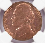 Ngc 5c 1952 Jefferson Nickel On Cent Planchet Ms63 Red
