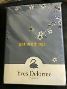 Yves Delorme Ramage King Duvet Cover Floral Opalia Blue White Cotton Sateen 550