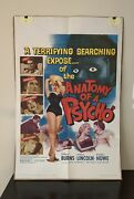 Classic Vintage 1961 Anatomy Of A Psycho Movie Film Poster Size 41 X 27