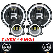 Fit For Hummer H2 H3 7and039and039 Led Headlight Round Projector Hi/lo+ Fog Light 4and039and039