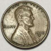 1930 S Lincoln Wheat Cent Penny Nice Strike, Solid Rims Free Shipping