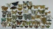 Lot Of 54 Vintage To Modern Butterfly Insect Brooch Pins Rhinestone Enamel Wire
