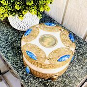 Antique Ornate Brass Victorian Rose Alabaster And Blue Stone Trinket Box Germany