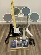 Nintendo Wii Rock Band Bundle W/ Drums Guitar Mic Dongle Games - Tested 🎸