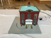 Mth Plastic Firehouse For Train Displays - No Box Sounds Lights Movement