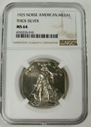 1925 Norse American Medal Thick Silver Ms64