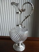 French Sterling Silver Crystal Decanter Pitcher Wine Claret Jug Dated 1889