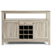 Buffet Server Sideboard Wine Cabinet Console-gray - Color Gray