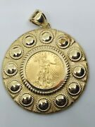 W@w⭐large Original 22k Us 5 Gold Coin In Solid Gold 14k Gold Setting ⭐vf