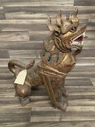 A Large Thai Wooden Carved Guardian Dog Sculpture