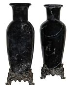A Pair Of French Style Marble Or Stone Mounted Vases