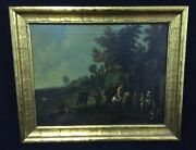 17th Century Americancontinental Landscape Town Scene Painting Oil On Canvas