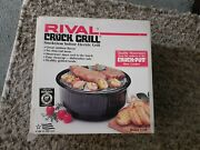 Rival 5750 Electric Smokeless Indoor Crock Grill Stoneware New Open Box