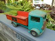 Triang Toy Lorry With Tipping Body Rubber Wheels And Old Patina