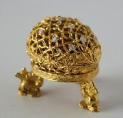 Signed Mosell Gold Tone Enamel Egg Sewing Kit Faberge With Stand
