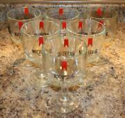 6 Vintage Michelob Beer Thumbprint Heavy Dimpled Glass Goblet Mug Cup 1970's