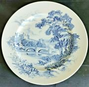 """Antique China Wedgewood And Co Countryside Dinner Plate Blue White 10"""" Enoch"""