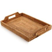 30xrattan Woven Storage Fruit Basket Candy Snack Snack Plate Cutlery Tray With