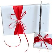 30xwedding Guest Book With Pen Holder Sets Satin Bows Signature Book With