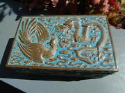 Chinese Antique Cloisonne Enamel Very Ornate Dragon Box With Wood Lining