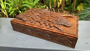 Oriental Carved Wooden Box Amazing Tree And Leaves Detail 3 Compartments Insideandnbsp