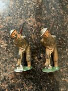 Barclay Manoil Soldier Doughboy Ditch Digger Shovel 3 Tall Ww1 Antique Lot Of 2