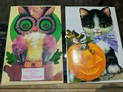 2 Vintage Laurel Halloween Cards Unused Stand Up And Tri Fold Out Kitten And Owl