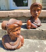 Antique Tribal Wooden Carved Bust Statue Man And Woman Folk Art
