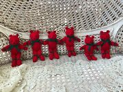 6 Department 56 Red Christmas Bear Ornaments With Green Bows So Cute