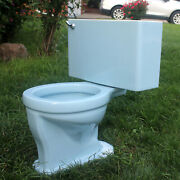Vintage Blue Briggs Two-piece Toilet Bowl Tank And Lid 1960and039s Very Nice And Clean