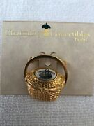 Nantucket Lightship Basket Pin Brooch Gold Tone With Clipper Ship Top