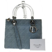 Authentic Christian Dior Lady Cannage 2way Hand Bag Denim Leather Italy 74jc324