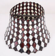 """Leaded Slag Glass 10 X 15"""" Vtg Antique Arts Crafts Bell Lamp Shade Maroon White"""
