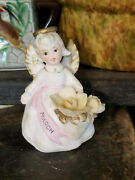 Vintage Lefton March Birthday Angel Holding Flowers With A Sash