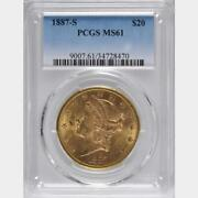 1887-s 20, Pcgs Ms 61 Liberty Double Eagle, U.s. Only 327 Graded Ms-61