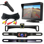 Diy Rear View Backup Reverse Camera And 4.3 Inch Lcd Monitor W/ Cigarette Lighter