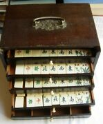 Antique Mah Jong Set In Wooden Chest Of Drawers Bone And Bamboo