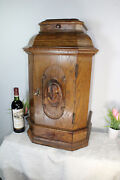 Antique French Oak Wood Carved Church Altar Tabernacle Madonna Mary Drawers