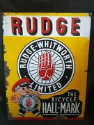 Vintage Old Bicycle Hallmark And039rudge Whitworth Limitedand039 Enamel Sign Board London