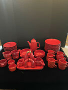 Gerz-west Germany Set Of Dishes- 59 Pieces- Excellent Condition- Red/ Orange