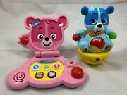 2 Vtech Leapfrog Bear's Baby Laptop Pink + Count And Wobbly Cody Blue Kid's Toys