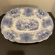 Staffordshire Blue Texian Campaigne Platter 13 3/4 James Beech Repaired 1800and039s